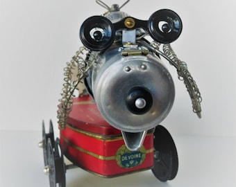 Robot Dog - Assemblage art - Steampunk sculpture - Dogbot - Recycled assemblage art - Dog lover gift - Unique gift