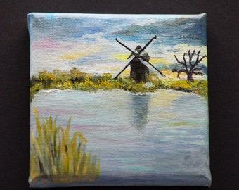 Small oil painting. Windmill in the Netherlands. 10 x 10 cm.