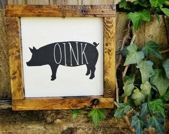 Farmhouse Pig Decor, Farmhouse Decor, Pig Decor, Pig sign, framed sign, 6x6 sign, Rustic Sign, Farmhouse Signs, Wood Wall Art