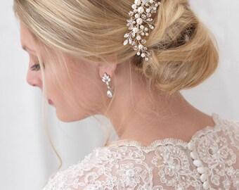 Pearl Bridal Comb, Floral Wedding Comb, Bridal Hair Comb, Wedding Hair Accessory, Crystal Hair Comb, Pearl Comb, Bridal Headpiece ~TC-2293