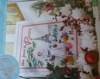 "Semi KIT ""Christmas in Paris"" cross stitch aida"