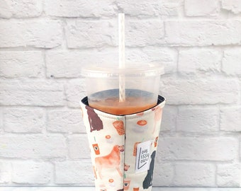 Iced Coffee Cozy, Cup Cozy, Coffee Cozy, Insulated Cup Sleeve, Coffee Cozies, Cozies,  Lab Coffee Cozy, Coffee Gifts