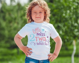 2nd Birthday girls Kids  T-Shirt, Childrens Toddlers T Shirt Top. little miss 2 much