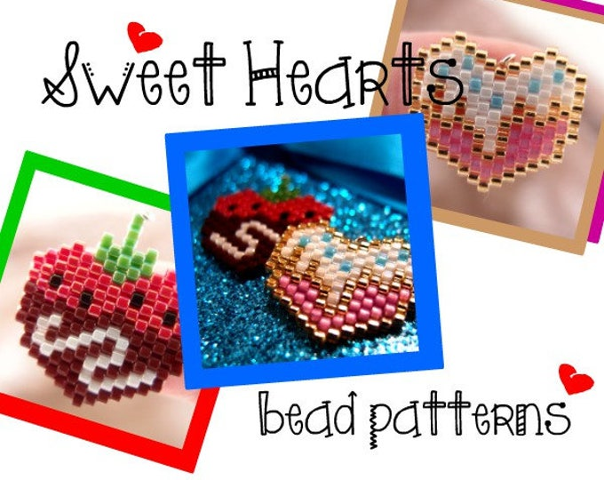 Hearts Brick Stitch Bead PATTERNS (Chocolate Covered, Strawberry & Candy Sprinkles)   DIGITAL DOWNLOAD