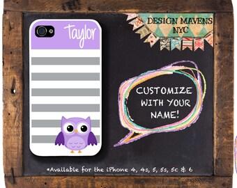 Cute Owl iPhone Case, Monogrammed iPhone Case, iPhone 4, 4s, iPhone 5, iPhone 5s, iPhone 5c, iPhone 6, 6s, 6 Plus, SE, Phone Case