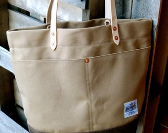 Waxed Canvas Tote Bag with Leather Handles - LargeTan and Brown Color Blocked Tote Perfect for Everyday, the Week-end or the Beach
