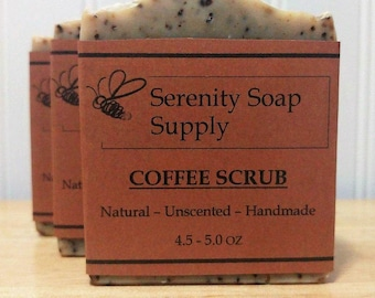 Coffee Scrub Soap - All Natural Soap - Facial Soap - Unscented Soap - Cold Process Soap - Vegan - Artisan - 4 Oz Bar