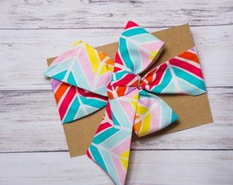 Rainbow Chevron Head wrap- summer head wrap, rainbow head wrap, rainbow baby outfit