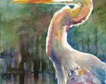 Blue heron, marsh bird, print of watercolor painting