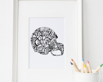 Adult Coloring Printable - COLOR ME HELMET - 5x7, 8x10, football helmet, kid coloring, printable color page