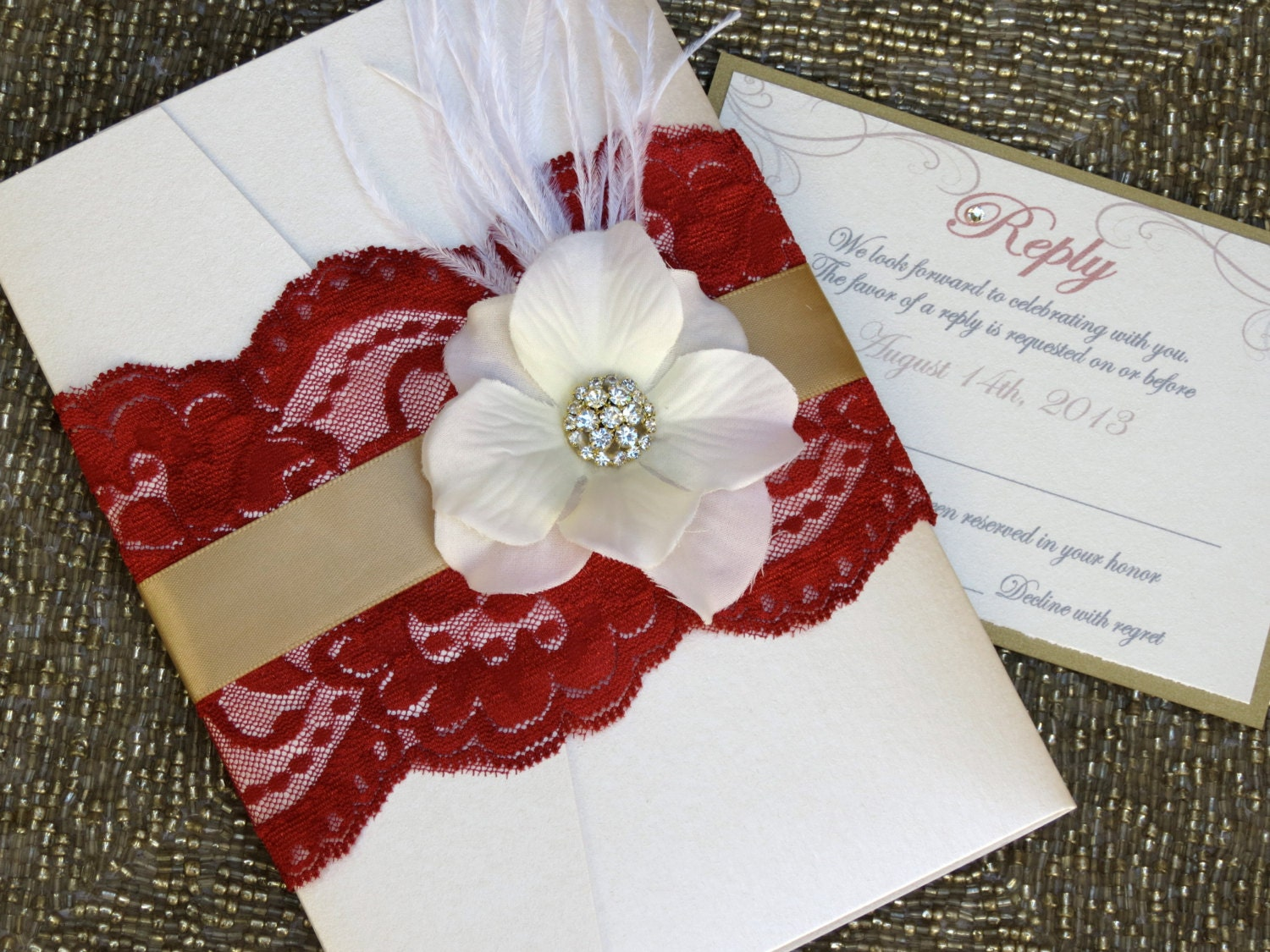red and gold wedding invitations - Wedding Decor Ideas