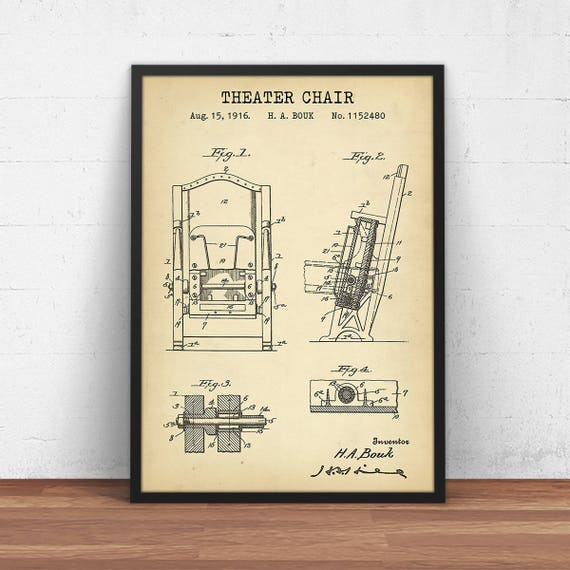 Theater chair patent print digital download blueprint art malvernweather Image collections