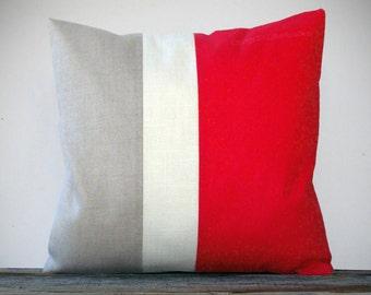 Color Block Pillow in Poppy Red, Cream and Natural by JillianReneDecor - Bright Home Decor - Colorblock Striped Trio - Nautical - Costal