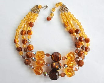 Mid Century 3 Strand Lucite Necklace