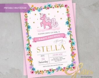 Unicorn-Pony Baby Shower invitation, digital baby shower invitation , girl invitation,flowers