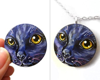 Black Cat Necklace, Purple Pendant, Yellow Eyes, Pet Portrait, Hand Painted Wood Jewelry, Cat Owner Gift for Her, Memorial Keepsake