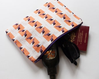 SWAN STRIPE pouch - apricot & purple