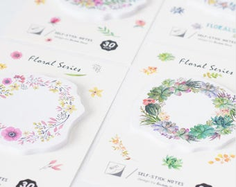 Set of 4 blocks sticky notes wreaths of flowers