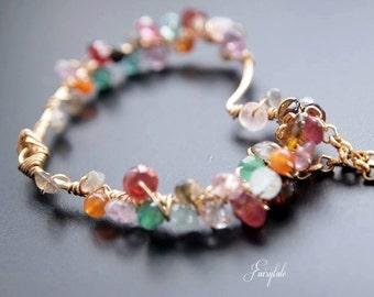 "Gem wrapped pendant Heart - Semiprecious stones - Multicolored - ""Karma"""