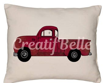Vintage Red Truck Instant Digital Download Printable Graphic Fabric Transfer Image 0811