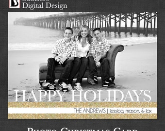 Christmas Card, Gold and Glitter Photo Holiday Card - Digital File - You Print - Customizable Card 5x7