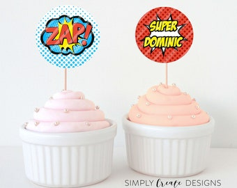 SALE Super Hero Cupcake Toppers Digital File 8.5x11 JPEG or PDF File Personalized