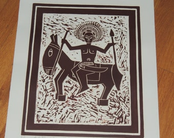 "Lester Hines  AP Artist Proof 1975 Linocut ""Indian Chief"""