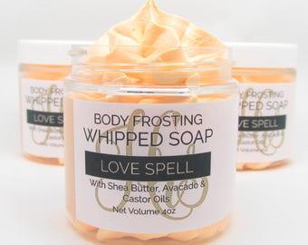 Fluffy Whipped Soap Body Frosting - Love Spell - 4oz. - Cream Soap, Body Wash, Bath Soap, Bath Whip, Soaps, Vegan, Gift For Her, Favor, Gift