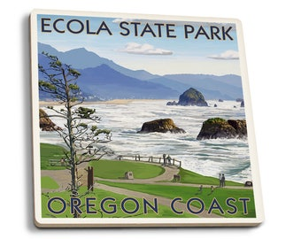 Cannon Beach from Ecola Park, OR - LP Artwork (Set of 4 Ceramic Coasters)