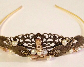 Bridal headpiece, Steampunk headpiece, Medieval headpiece, bronze tiara, bride hair crown, wedding tiara, bronze bridal tiara, bridal tiara