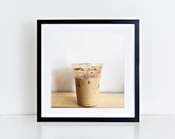 "Iced Coffee Cold Brew Still Life, Square 5"" x 5"", Fine Art Photography, Wall Art Decor"