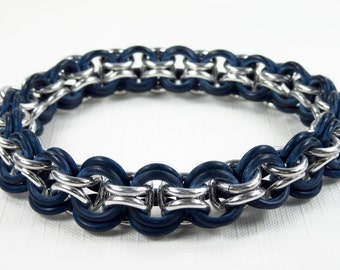 Rubber & Aluminum Inverted Round Weave Chainmaille Stretch Bracelet