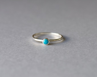 Turquoise Solitaire Ring, 925 Sterling Silver Ring, Beach Ring, Simple Ring, Minimalist Ring, Stacking Ring, Gift For Her