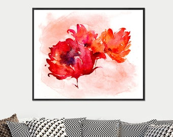 Watercolor Print Red Peony Bouquet, Peony Print, Watercolor Flower Wall Art, Red Orange Wall Decor, Floral Home Decor - 25