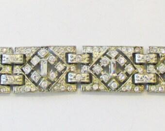 Vintage-Jewelry-Silver-Rhinestone-Bracelet-Costume Jewelry-Art Deco-Geometric-Retro-Women-Gift-Birthday-Birthday Gift-Anniversary-Wedding