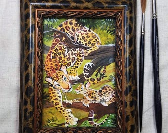 """Original Watercolor Painting // Camouflage: Leopard // Leopard mom and cub in camoflage 4x6"""""""