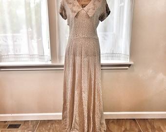Vintage 1940's Long Lace Dress -  M- L