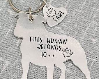 Staffy - Staffordshire Bull Terrier - This Human Belongs To.. Personalised Dog Keyring - Dog Lover - Dog Mum - Gift
