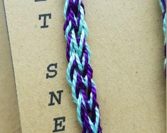 Crocheted Joker Shoe Laces - Green & Purple