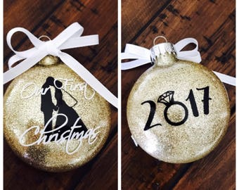 Our First Christmas ornament / double sided ornament / wedding gift / engagement gift / housewarming