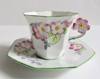 Vintage Melba Flower Handle China Tea Cup & Saucer ~ Hand Painted