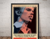 David Bowie Poster - Quote Retro Music Poster - Music Print, Wall Art
