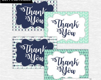 Instant Download Mint Navy Deer Woodland Party Thank You cards Thank You notes Birthday party DIY Printable (SWW301)