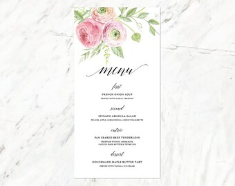 Floral Wedding Menu, Blush Flowers Wedding Menu, Floral Script Dinner Menu