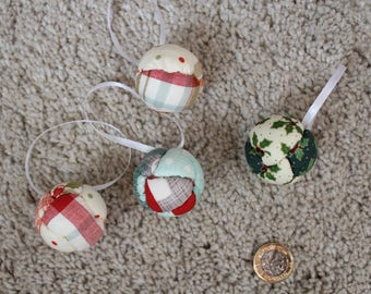 4cm Christmas fabric baubles