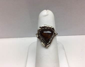 Sterling Silver Amber Sawtooth Bezel Set Ring Size 6+
