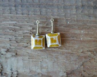 Tiny Ceramic pendant .Ceramic handmade