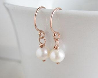Pearl earrings, dainty ROSE GOLD earrings Blush pink gold Freshwater pearl dangle earrings Small pearl drop earrings, bridesmaid earrings