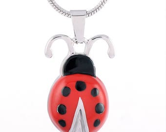 Cremation Jewelry/Ladybug  Pendant-Urn Necklace-Memorial Jewelry- Necklace for Ashes-Keepsake Jewelry- Cremation Jewelry