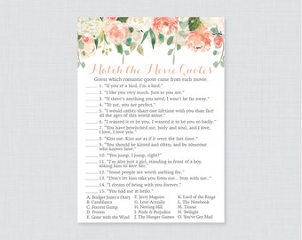 Movie Love Quote Match Game - Printable Peach Floral Bridal Shower Movie Quote Game - Peach, Cream, Green Garden Bridal Shower Game - 0028